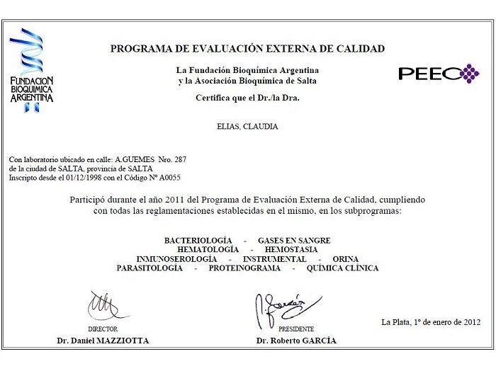 CERTIFICADO DE EVALUACION EXTERNA - Dra.Claudia Elías ...